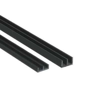 Glasführungsprofile/Glasführungsschienen für 6 mm Glasstärke - Komplettset 0,5 Meter